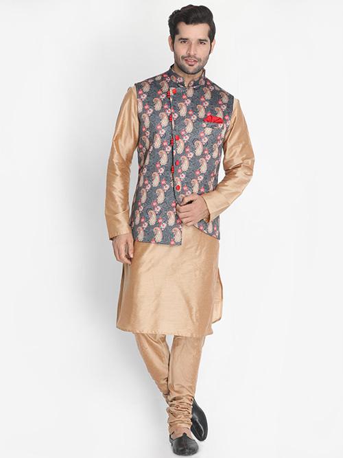 INDIAN DESIGNER KURTA PAJAMA JACKET SET BT-MKPJ-600093-XL