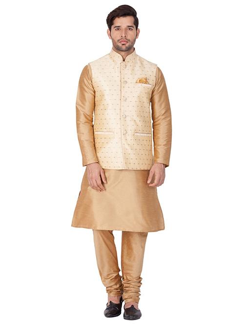 INDIAN DESIGNER KURTA PAJAMA JACKET SET BT-MKPJ-600095-3XL