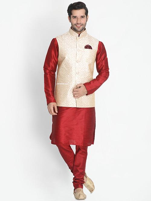 INDIAN DESIGNER KURTA PAJAMA JACKET SET BT-MKPJ-600098-2XL
