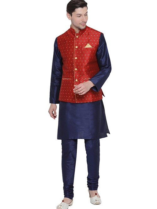 INDIAN DESIGNER KURTA PAJAMA JACKET SET BT-MKPJ-600099-3XL