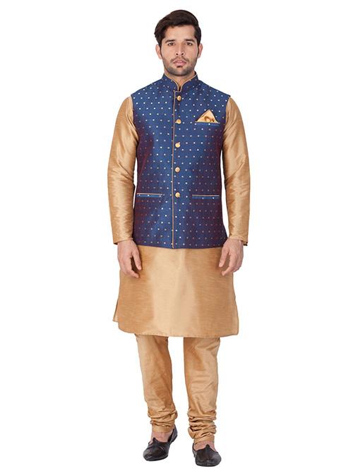 INDIAN DESIGNER KURTA PAJAMA JACKET SET BT-MKPJ-600100-3XL