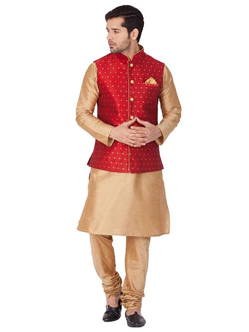INDIAN DESIGNER KURTA PAJAMA JACKET SET BT-MKPJ-600101-3XL